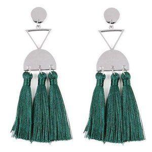 Tassel Trippin – Hunter Green Fringe Earrings